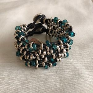 Uno de 50 Silver and Teal Murano beaded bracelet